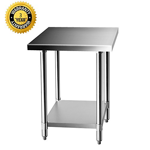 Z GRILLS Stainless Steel Prep Work Table 24 x 24 Inches for Commercial Kitchen Restaurant