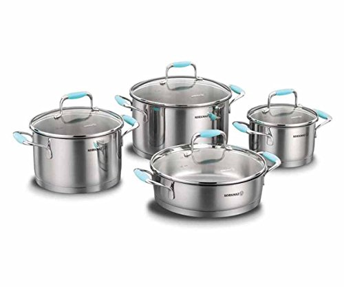 Korkmaz High-End Stainless Steel Induction-Ready Cookware Sets with Tri-Ply Encapsulated Base (8 Piece, Flora(Blue)) (Best High End Cookware)