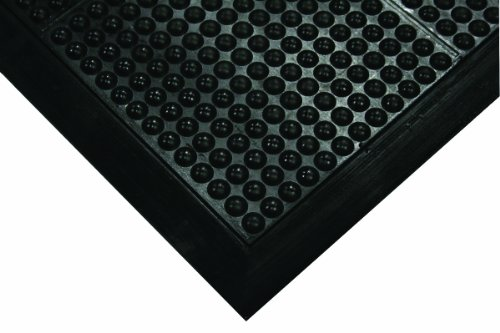 Wearwell Natural Rubber 454 OrthoSand Medium Duty Anti-Fatigue Mat, Safety Beveled Integral Molded Border Edges, for Dry Areas, 2' Width x 3' Length x 1/2