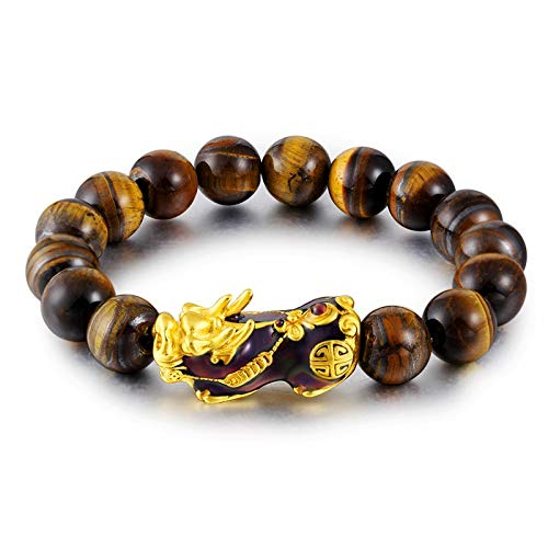 ALISETHEL Copper Bracelet for Men Natural Tiger Eye Beaded Mens Bracelet with Brave Troops Thermochromic Pixiu Charm Strand Bracelets Handmade Jewelry