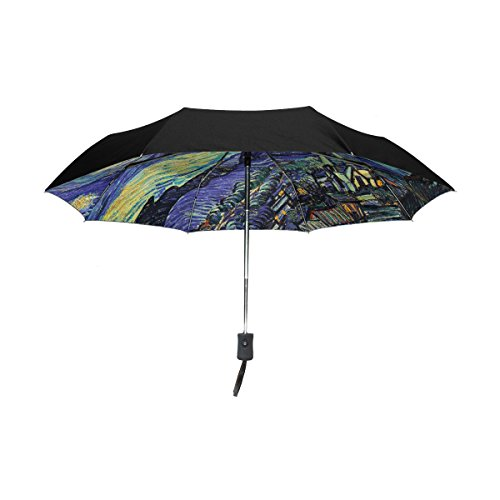 YZGO Outer Black Umbrella Van Gogh's Starry Night Umbrellas Sturdy UV Anti Parasol Artwork Gifts for Business & Personal