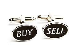 MRCUFF Buy Sell Oval Stockbroker Pair Cufflinks in a Presentation Gift Box & Polishing Cloth