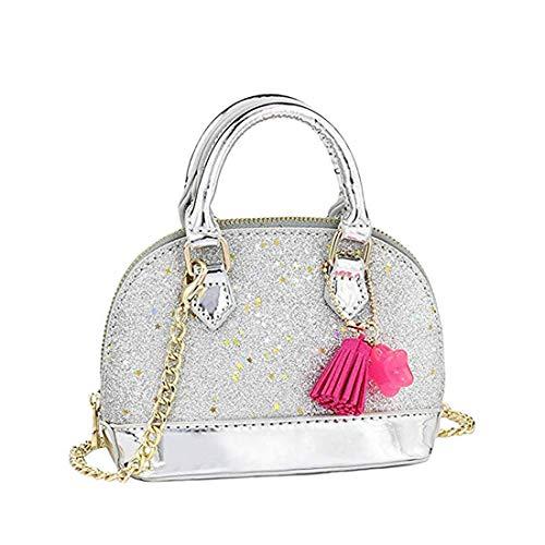 Silver Handbag Girls (Dukars Little Girls' Sequins Handbags Princess Crossbody Bag Mini Satchel Gifts For Girls Toddler Kids (Silver))