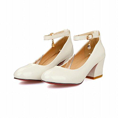 Carolbar Women's Charm Sweet Mid Heel Buckle Ankle-Strap Court Shoes White 0sphNDNtGW