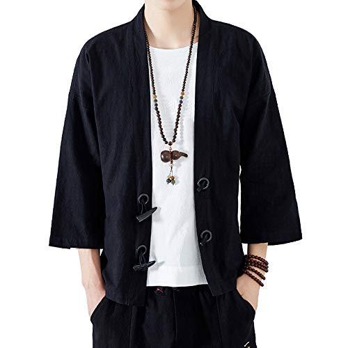 ANJUNIE Men Japanese Yukata Coat Casual Kimono Outwear Cotton Vintage Loose Jacket(Black,XXL)