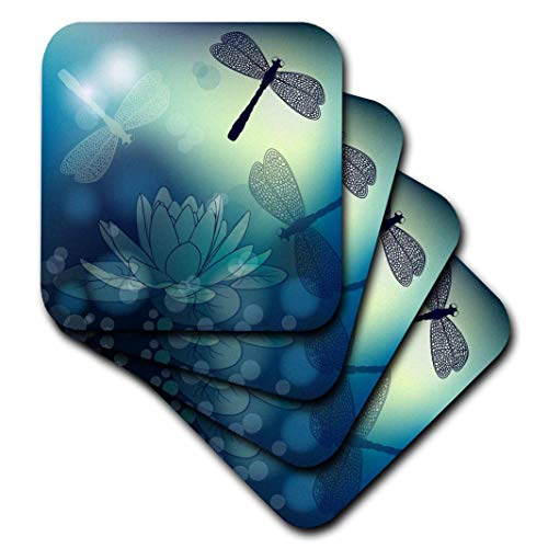 3dRose Translucent Shimmering Blue Dragonflies and - Soft Coasters, Set of 8 ()
