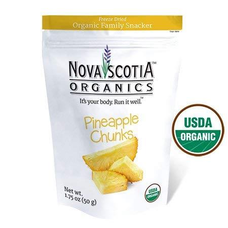 Nova Scotia Organics Freeze Dried Pineapple Chunks Family Snacker (3 x 50g pack); Certified Organic; Vegan by Nova Scotia Organics