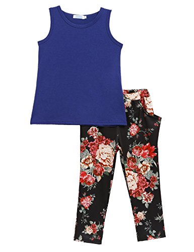 Price comparison product image Arshiner Toddler Baby Kids Girls Summer 2PCS Sets Outfits Sleeveless Shirt/Tops + Floral Pants with Pockets