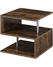 HOMCOM Wooden S Shape End Table 3 Tier Storage Shelves Organizer Living Room Coffee Side Table Desk