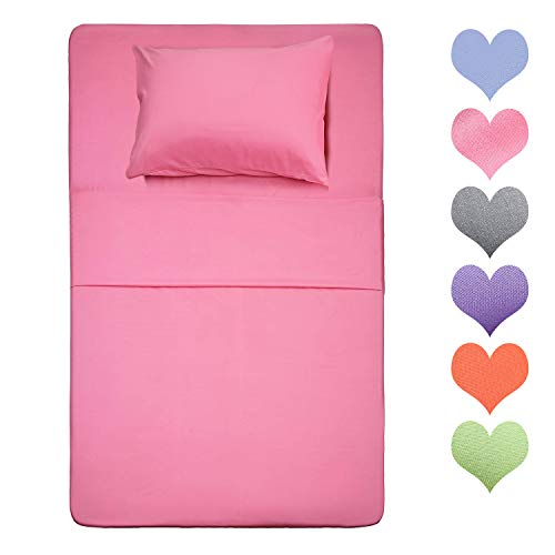 Homelike Collection 400 Thread Count Cotton Twin Size Sheet Set (Pink Color) 4 Piece - 100% Long Staple Cotton Sheets Set, Soft Cotton Bed Sheets Sets with Deep Pocket fit Up to 16 inch