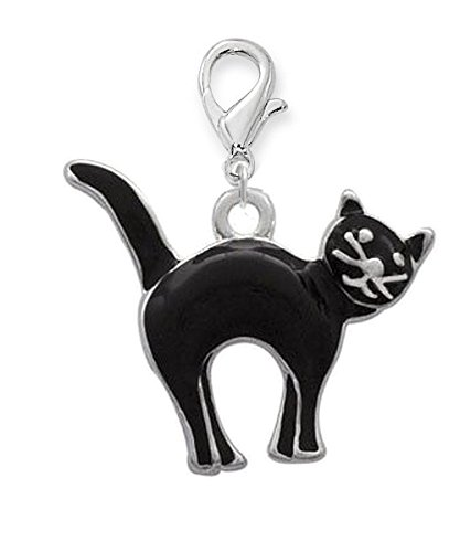 Black Enameled Cat - Silver Plated, Enameled, Black Cat, Clip on Charm Qty.1