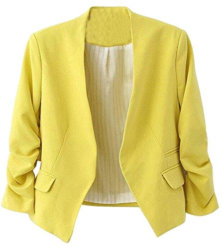 ARTFFEL-Women Formal Open Front Puff Sleeve Solid Color Blazer Jacket Suits Yellow ()