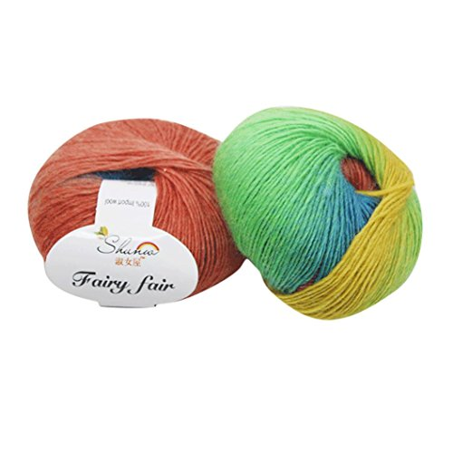 Knitting Mohair Patterns (Victorcn 1pc 50g Chunky Hand-woven Rainbow Colorful Knitting Scores Wool Blend Yarn (B, #2))