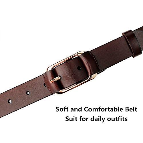 Whippy Fashion Genuine Leather Belt for Women Designer Ladies Belt with Golden Buckle