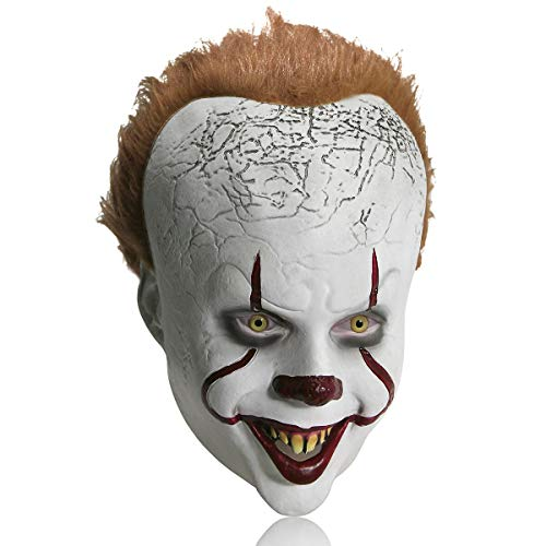 Most Realistic Halloween Costumes 2019 (Halloween Pennywise Scary Clown Mask Costume,Cosplay Party Decoration Halloween Prop for Adult Children Toy Trick(It: Chapter Two))