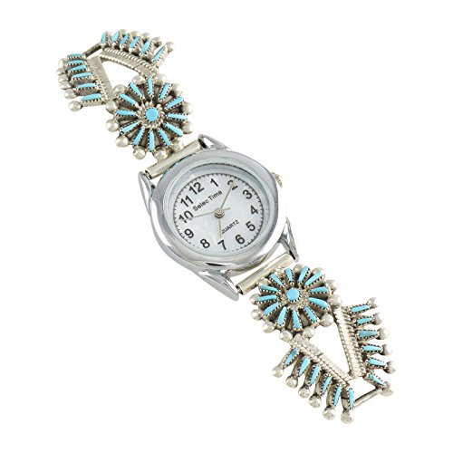 Vincent Johnson Sterling Silver Turquoise Needlepoint Ladies' Watch Zuni (Sterling Silver Zuni Needlepoint)