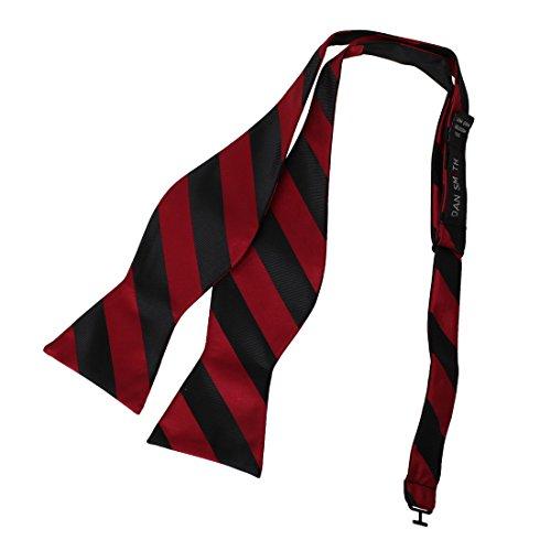 (Dan Smith DBA7A05G Dark Red Black Stripes Bow Tie Microfiber Various For Groomsmen Self-tied Bow Tie)