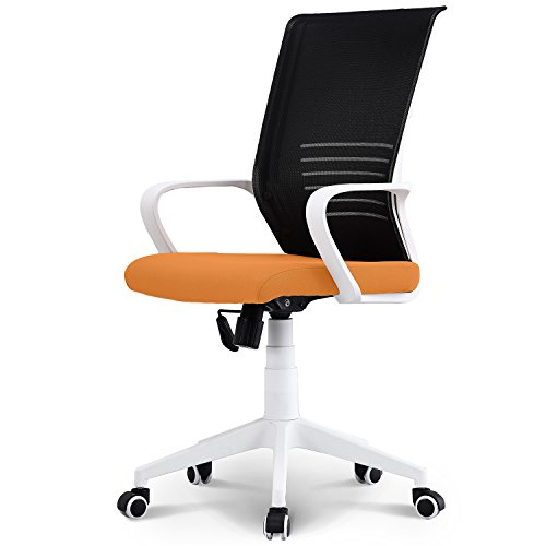 Mid Back Fabric Guest Chair - Neo Chair Managerial Office Chair Conference Room Chair Desk Task Computer Mesh Home Chair w/Armrest : Ergonomic Lumbar Support Swivel Adjustable Tilt Mid Back Wheel, (MORCOTE Orange White)