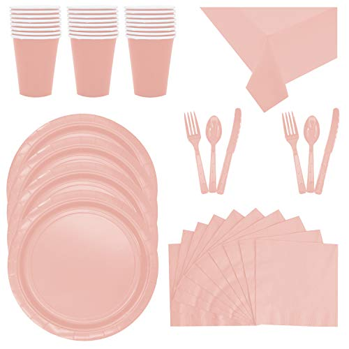 (Disposable Pink Dinnerware Party Supplies - Serves 32 - Includes Pink Plastic Forks, Spoons, Knives, Napkins, Paper Cups Plates and Two Table Clothes)