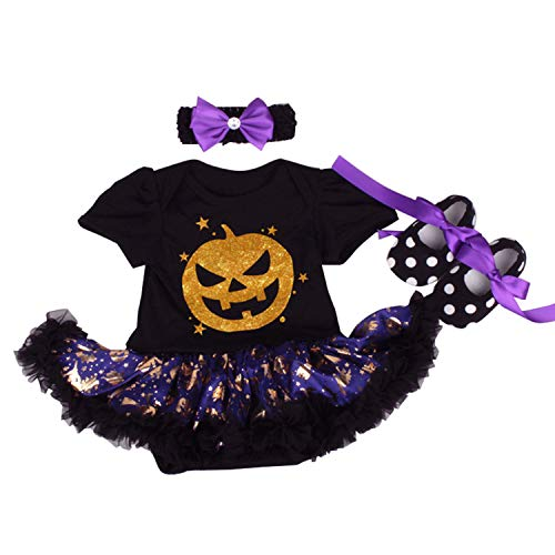 BabyPreg Infant Girl's First Halloween Pumpkin Dress, Baby Thanksgiving Dress (Black Face, L for 9-12 Months) -