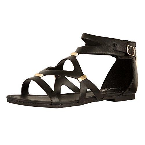 Guilty Heart Womens Sexy Versatile Strappy Platform Stiletto Block Heel Ankle Strap Sandal Sandals, Blackv2 Pu, 7.5 B(M) US