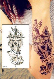 Tattoo Pour Les Hommes Noir Couteau Et Loup Tatouages Temporaires