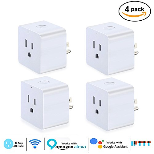 Smart Plug, ETopLike Wireless Wi-Fi Mini Socket Outlet With Remote Control Device and Timing Function from Anywhere, No Hub Required, Compatible with Alexa Google Home & Ifttt , 4 Pack (Square)