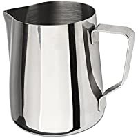 Domini Milk Frothing Pitcher Stainless Steel Metal 12 oz -For Milk Frothers, Espresso Cappuccino Coffee, Creamer,Steaming,chef,motta (Measurement inside)