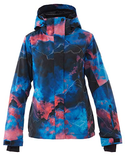 Women's Ski Jacket Outdoor Waterproof Windproof Coat Snowboard Mountain Rain Jacket SJW075 Watercolour Darkblue S