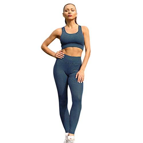 Tsmile Women Yoga Vest Sets,Fitness Tank Tops Running Sports Pants Dot Print High Waist Skinny Trousers Suits