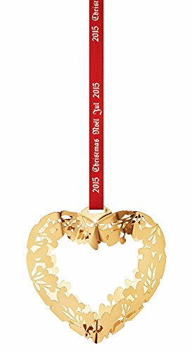 (Georg Jensen 3410215 Christmas Ornament 2015, Heart Gold Plated)