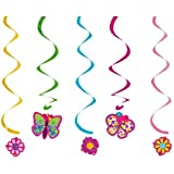 Creative Converting Butterfly Sparkle Dizzy Danglers Hanging Party Decorations, 5-Count