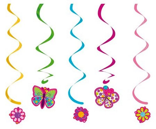 Creative Converting Butterfly Sparkle Dizzy Danglers Hanging Party Decorations, - Butterfly Supplies Party Birthday