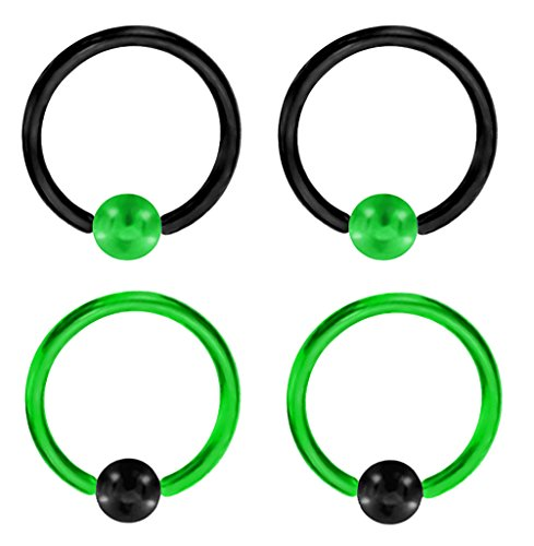- 2 Pair of Unique Custom Green & Black Captive bead Ring lip, belly, nipple, cartilage, tragus, septum, earring hoop - 14g 5/16