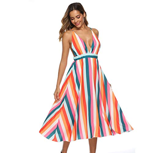 Backless Striped Dress Maxi Dresses Deep V Sundress Colorful Striped Dress Beach Summer Sexy Dresses for Women (Long style 1,L)