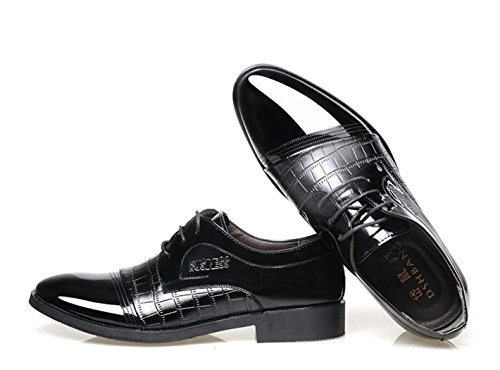 HYLM Hombre zapatos de negocios de encaje costura apuntó zapatos de boda / Oxford Black