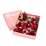 GILAND 11pc Girl Baby Toddler Hair Ribbon Bows Clip Flowers Barrettes Mixed Design (Burgundy)
