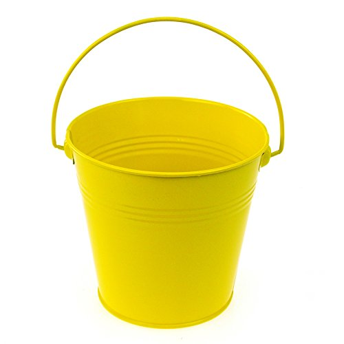 Homeford Firefly Imports Metal Pail Buckets Party Favor, 5-Inch, Yellow