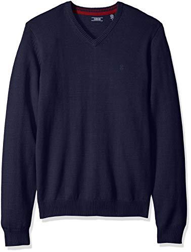 IZOD Men's Premium Essentials Solid V-Neck 12 Gauge Sweater, Navy Peacoat 030, -