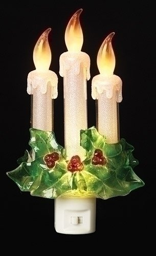 Night Light Candles and Holly 7.75