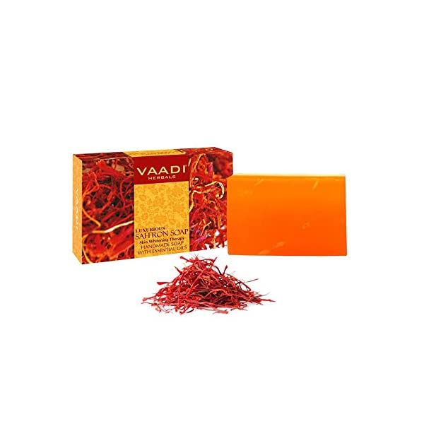 Vaadi Herbals Value Luxurious Saffron Skin Whitening Therapy Soap, 75g (Pack of 3) 2021 June Quality: 225g (Each 75g); A luxurious saffron soap with skin whitening therapy which makes your skin soft and light Enriched with multi-mineral rich content of saffron and goat milk. This soap lightens and even your skin tone; While cleansing away deep-pore impurities It gently fades away pigmentation marks, blemishes and grants you a fairer and flawless complexion