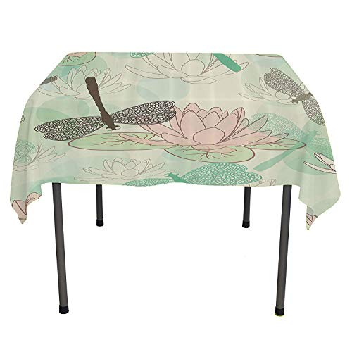 Country Decor Collection, Tablecloth For Kitchen Dining TabletopFloating Water Lily and Dragonfly Figures on the Lake in Mild Soft Color Designed Print, for Outdoor and Indoor Use, 50x50 Inch Pink Gre