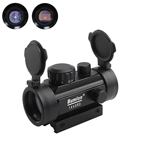 Red Green Dot Sight Rifle Scope Reflex Holographic Optics Tactical Fits 11mm/ 20mm Rail with Flip up Lens Cover for Airsoft Gun