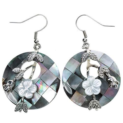 YACQ Jewelry Women's Sea Shell Drops Dangle Earrings (Grey)