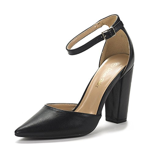 Dream Pairs Women's Coco Black Pu Mid Heel Pump Shoes - 9 M US
