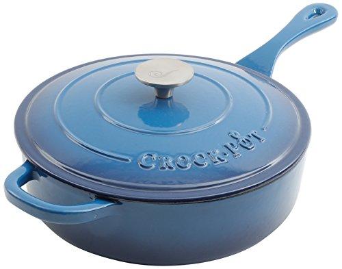 Crock Pot 111997.02 Artisan 3.5 Quart Enameled Cast Iron Deep Sauté Pan, Sapphire Blue
