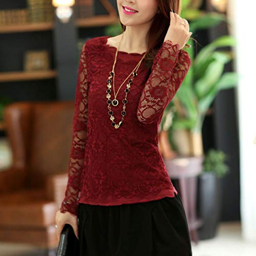 T en Col Solide Manches Longues Rouge Shirt Dentelle Femmes Xinwcanga Blouse Rond wYEq5z6