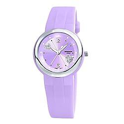 Girls Watches, PASNEW Waterproof Quartz Analog Wrist Watch with Jelly Watches for Girls Boys Kids Purple