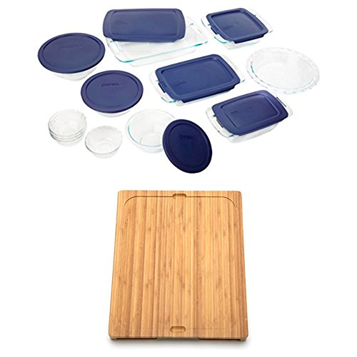 Bundle Includes 2 Items - Pyrex Easy Grab 19-Piece Glass Bakeware Set with Blue Lids and Seville Classics Easy-to-Clean Bamboo Cutting Board and 7 Color-Coded Flexible Cutting Mats with Food Icons Set