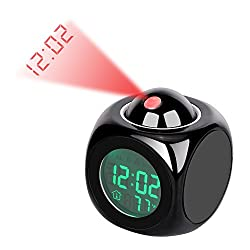 Konesky Clearance Projection Alarm Clock, LED Desk Clock with Digital LCD Voice Talking Function, Alarm,Snooze,Temperature,Time(12H/24H) Display (Black)